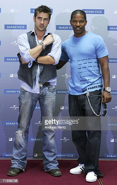 Actors Colin Farrell and Jamie Foxx attend the photocall of the movie 'Miami Vice' at the Adlon Hotel on July 29 2006 in Berlin Germany