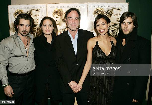 Actors Colin Farrell Angelina Jolie Director Oliver Stone Actors Rosario Dawson and Jared Leto attend a special screening of 'Alexander' at Lincoln...