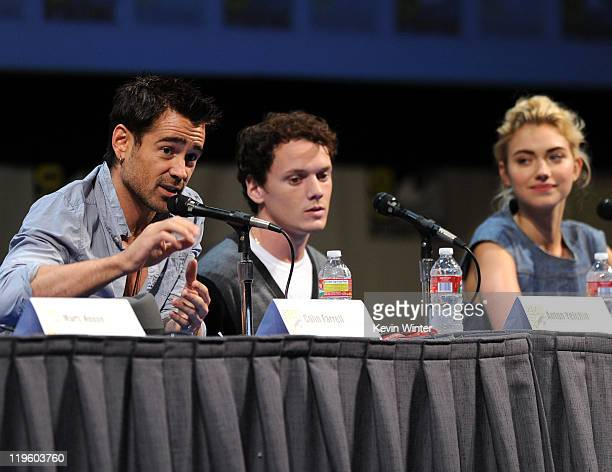 Actors Colin Farrell Anton Yelchin and Imogen Poots speak at DreamWorks' Fright Night panel at San Diego Convention Center on July 22 2011 in San...
