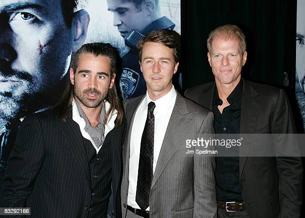 Actors Colin Farrell Edward Norton and Noah Emmerich attend the Premiere for Pride and Glory at AMC Loews lincoln Square 13 on October 15 2008 in New...
