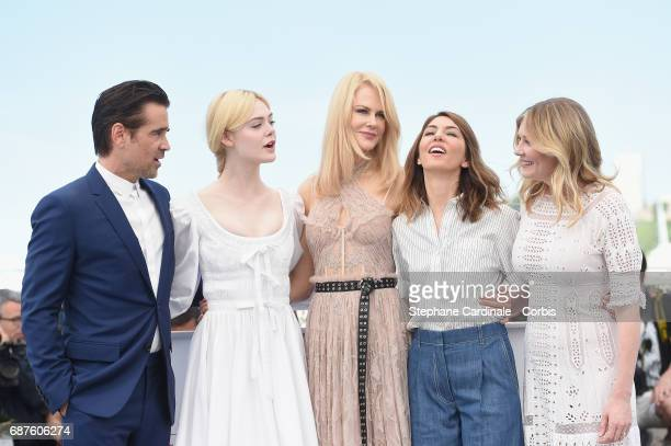 Actors Colin Farrell Elle Fanning Nicole Kidman director Sofia Coppola and actress Kirsten Dunst attend 'The Beguiled' photocall during the 70th...