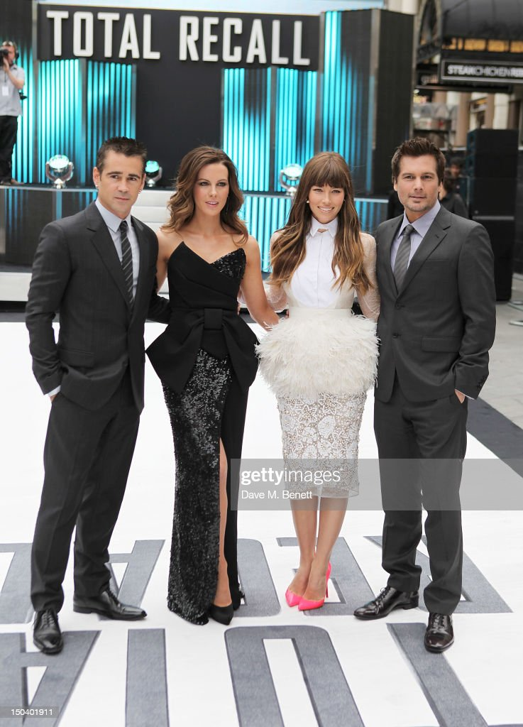 Actors Colin Farrell, Kate Beckinsale, Jessica Biel and Len Wiseman attend the UK Premiere of 'Total Recall' at the Vue West End on August 16, 2012 in London, England.