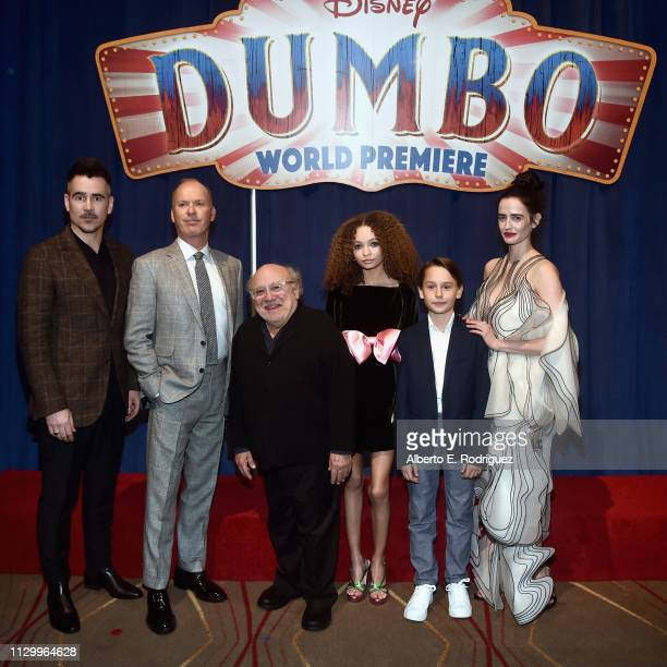 Actors Colin Farrell Michael Keaton Danny DeVito Nico Parker Finley Hobbins and Eva Green attend the World Premiere of Disney's Dumbo at the El...