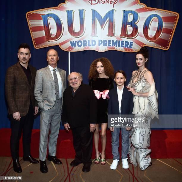 "Actors Colin Farrell, Michael Keaton, Danny DeVito, Nico Parker, Finley Hobbins and Eva Green attend the World Premiere of Disney's ""Dumbo"" at the El..."