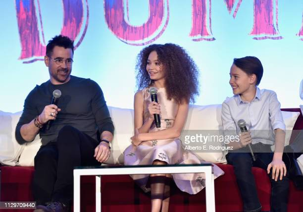 Actors Colin Farrell Nico Parker and Finley Hobbins speak onstage during the 'Dumbo' Global Press Conference at The Beverly Hilton Hotel on March 10...