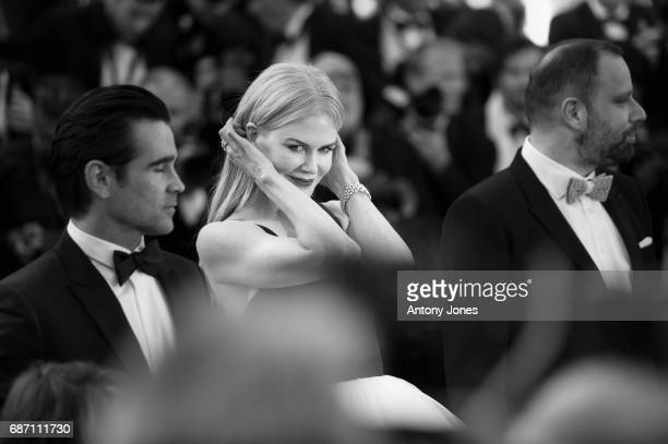 Actors Colin Farrell Nicole Kidman and director Yorgos Lanthimos attend 'The Killing Of A Sacred Deer' premiere during the 70th annual Cannes Film...