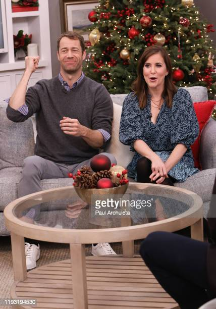 Actors Colin Ferguson and Kellie Martin visit Hallmark Channel's Home Family at Universal Studios Hollywood on December 10 2019 in Universal City...