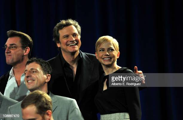 Actors Colin Firth and actress Michelle Williams attend the 83rd Academy Awards nominations luncheon held at the Beverly Hilton Hotel on February 7...