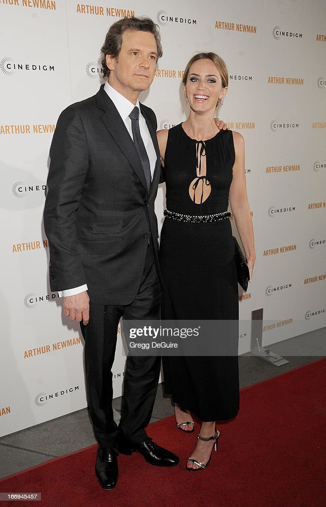 Actors Colin Firth and Emily Blunt arrive at the Los Angeles premiere of 'Arthur Newman' at ArcLight Hollywood on April 18, 2013 in Hollywood, California.