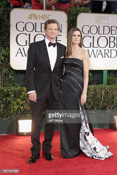 Actors Colin Firth and Livia Giuggioli arrive at the 69th Annual Golden Globe Awards held at the Beverly Hilton Hotel on January 15, 2012 in Beverly...