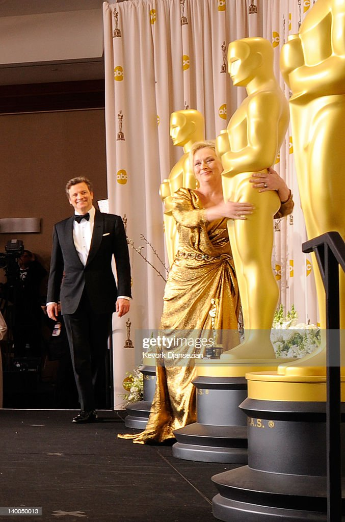 Actors Colin Firth and Meryl Streep pose in the press room at the 84th Annual Academy Awards held at the Hollywood & Highland Center on February 26, 2012 in Hollywood, California.