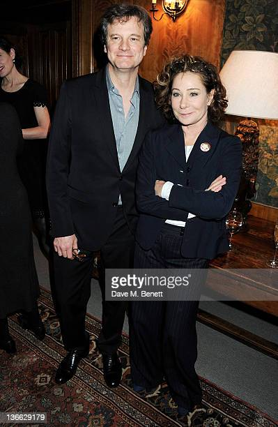 Actors Colin Firth and Zoe Wanamaker attend a special screening of 'My Week With Marilyn' hosted by Colin Firth at Covent Garden Hotel on January 9...
