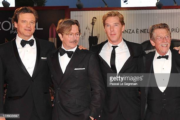 Actors Colin Firth Gary Oldman Benedict Cumberbatch and John Hurt attend the 'Tinker Tailor Soldier Spy' premiere at the Palazzo del Cinema during...