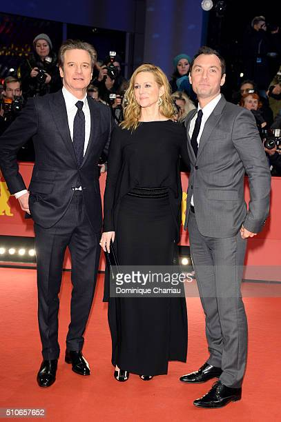 Actors Colin Firth Laura Linney and Jude Law attend the 'Genius' premiere during the 66th Berlinale International Film Festival Berlin at Berlinale...