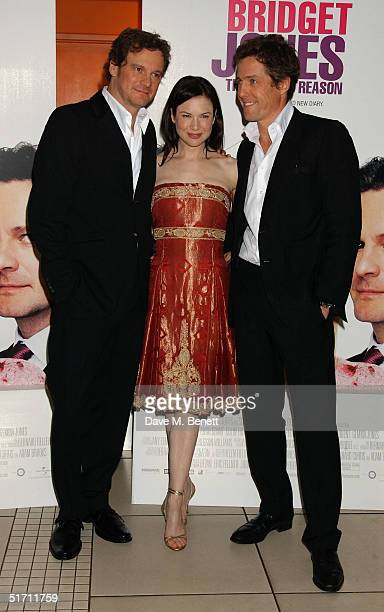 Actors Colin Firth Renee Zellweger and Hugh Grant arrive at the UK Gala Premiere of Bridget Jones The Edge Of Reason at the Odeon Leicester Square on...