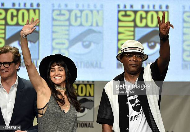 Actors Colin Firth Sofia Boutella and Samuel L Jackson attend the 20th Century Fox presentation during ComicCon International 2014 at San Diego...