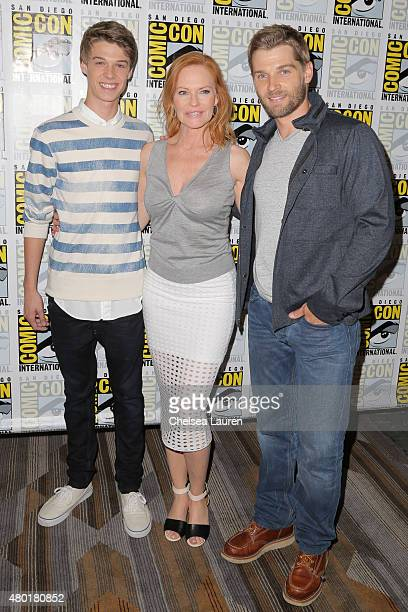 Actors Colin Ford Marg Helgenberger and Mike Vogel attend the CBS Television Studios press room during ComicCon International on July 9 2015 in San...