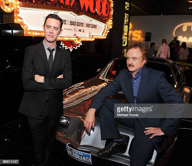 """Actors Colin Hanks and Bradley Whitford attend """"The Good Guys, Bad Guys, Hot Cars"""" exhibition opening reception at Petersen Automotive Museum on May..."""