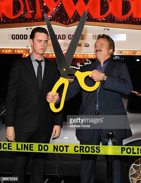 Actors Colin Hanks and Bradley Whitford attend 'The Good Guys, Bad Guys, Hot Cars' exhibition opening reception at Petersen Automotive Museum on May...