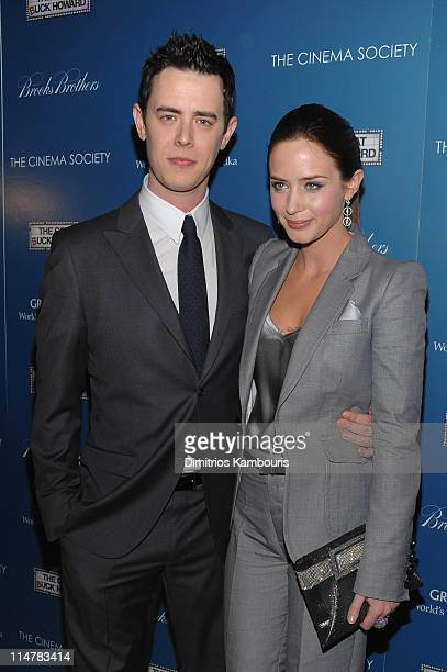 Actors Colin Hanks and Emily Blunt attend The Cinema Society and Brooks Brothers screening of The Great Buck Howard at the Tribeca Grand Screening...