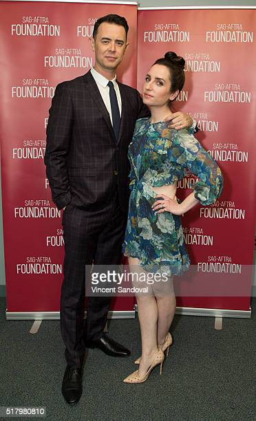 """Actors Colin Hanks and Zoe Lister-Jones attend SAG-AFTRA Foundation Conversations for """"Life In Pieces"""" at SAG-AFTRA Foundation on March 28, 2016 in..."""