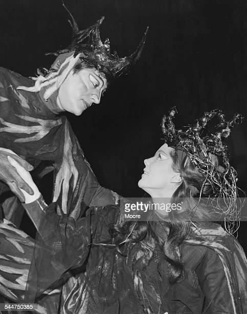 Actors Colin Jeavons and Samantha Eggar in costume rehearing the Shakespeare play 'A Midsummer Night's Dream' at the Royal Court Theatre London...