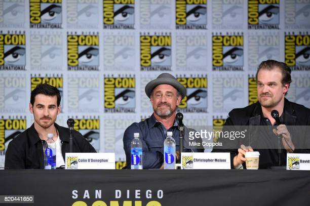 Actors Colin O'Donoghue Christopher Meloni and David Harbour speak onstage at ComicCon International 2017 Brave New Warriors panel at San Diego...