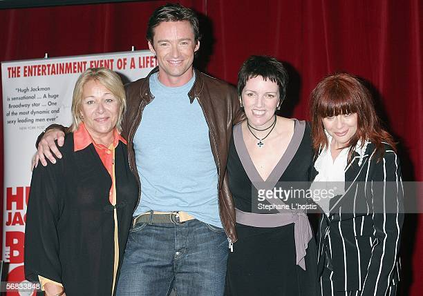 Actors Colleen Hewett Hugh Jackman Angela Toohey and Chrissy Amphlett attend a press conference announcing a national tour of the hit Broadway show...