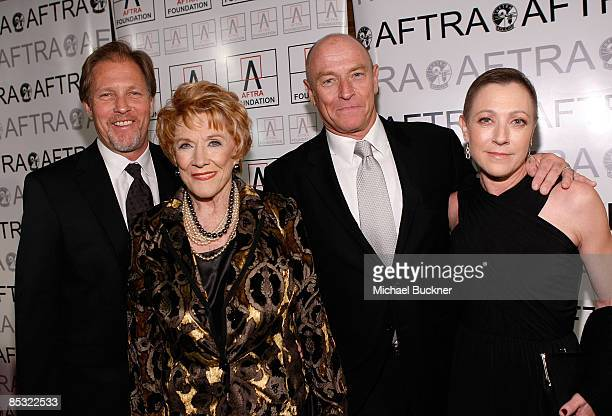 Actors Collin Bernsen Jeanne Cooper Corbin Bernsen and Caren Bernsen arrive at the 2009 AFTRA Media and Entertainment Excellence Awards at the...