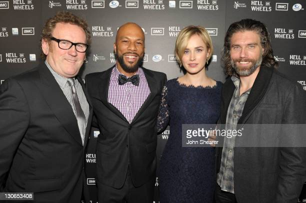 Actors Colm Meaney Common Dominique McElligott and Anson Mount arrive at the premiere of AMC's 'Hell On Wheels' held at LA Live on October 27 2011 in...