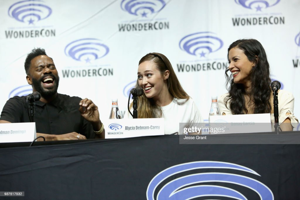 Actors Colman Domingo, Alycia Debnam Carey and Danay Garcia speak onstage during AMC's 'Fear of the Walking Dead' panel at WonderCon at Anaheim Convention Center on March 24, 2018 in Anaheim, California.