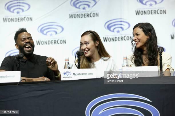 Actors Colman Domingo Alycia Debnam Carey and Danay Garcia speak onstage during AMC's 'Fear of the Walking Dead' panel at WonderCon at Anaheim...