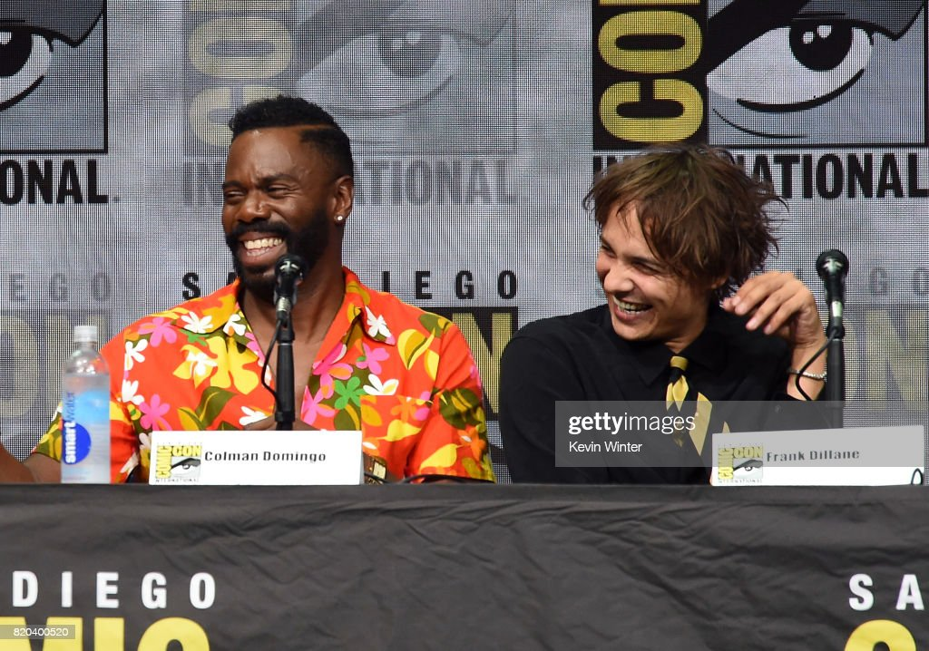 Actors Colman Domingo (L) and Frank Dillane speak onstage at the 'Fear The Walking Dead' panel during Comic-Con International 2017 at San Diego Convention Center on July 21, 2017 in San Diego, California.