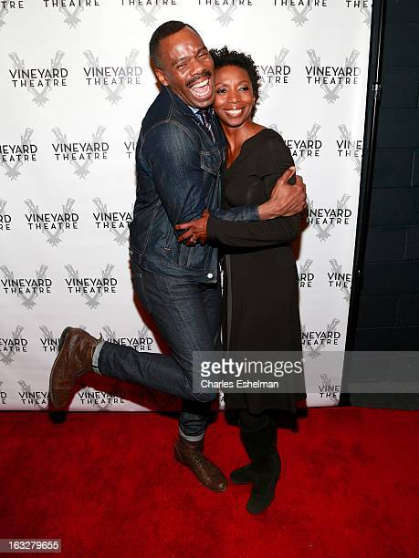 Actors Colman Domingo and Sharon Washington attend the off Broadway opening night of 'The North Pool' at Vineyard Theatre on March 6 2013 in New York...