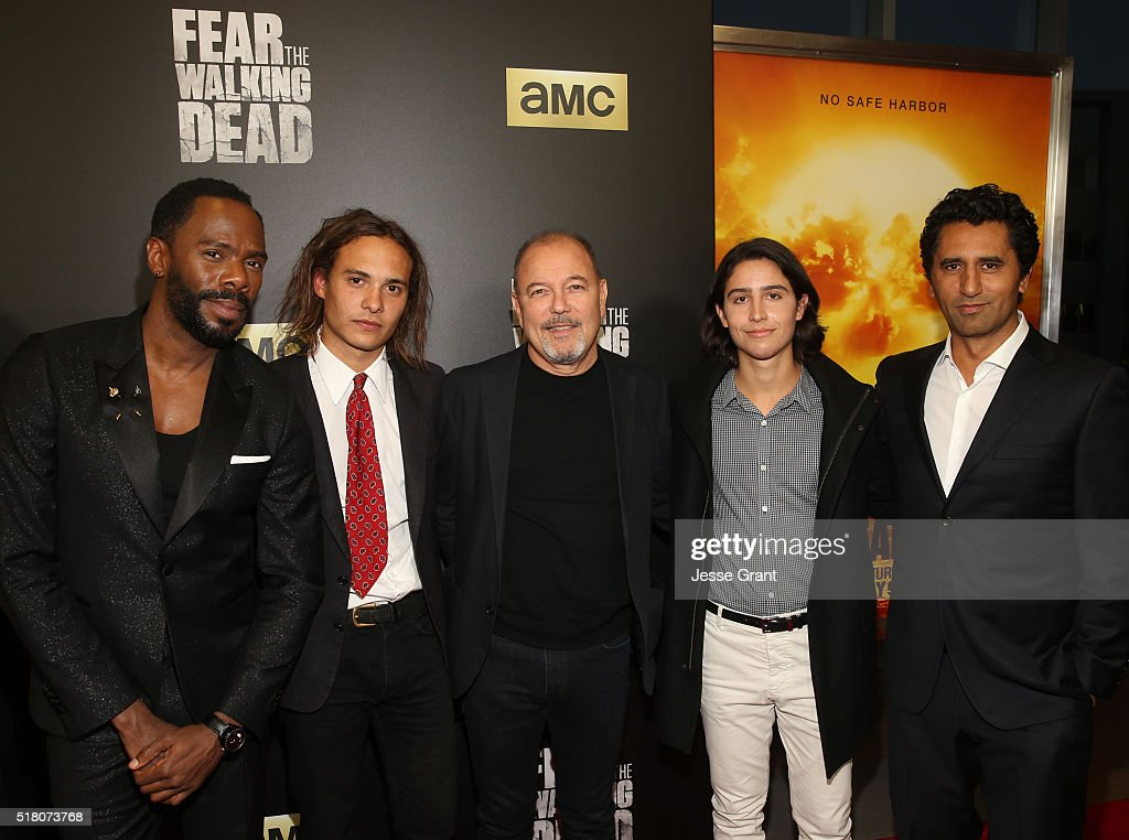 Actors Colman Domingo, Frank Dillane, Ruben Blades, Lorenzo James Henrie and Cliff Curtis attend the season 2 premiere of 'Fear the Walking Dead' at Cinemark Playa Vista on March 29, 2016 in Los Angeles, California.