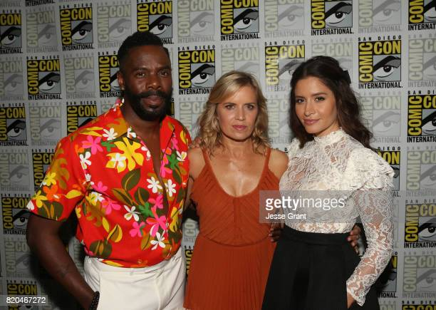 Actors Colman Domingo Kim Dickens and Mercedes Mason from 'Fear The Walking Dead' at the Hall H panel with AMC at San Diego ComicCon International...