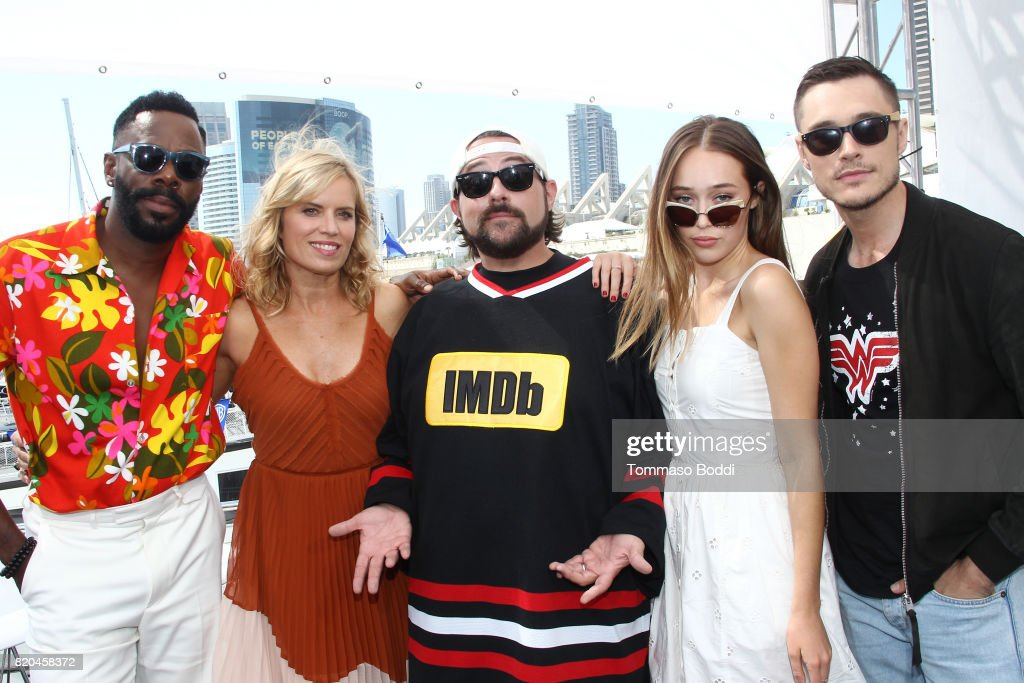 Actors Colman Domingo, Kim Dickens, host Kevin Smith, actors Alycia Debnam-Carey and Sam Underwood on the #IMDboat at San Diego Comic-Con 2017 at The IMDb Yacht on July 21, 2017 in San Diego, California.