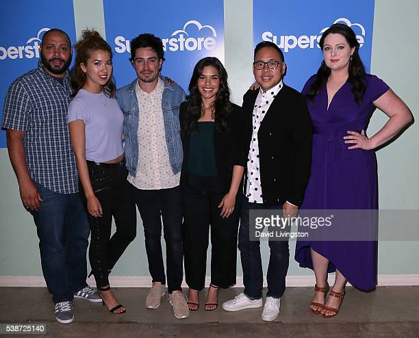 Actors Colton Dunn Nichole Bloom Ben Feldman America Ferrera Nico Santos and Lauren Ash attend FYC at UCB For NBC's 'Superstore' at UCB Sunset...
