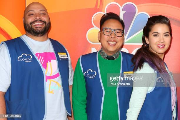 Actors Colton Dunn Nico Santos and Nichole Bloom attend the NBC's Los Angeles midseason press junket at NBC Universal Lot on February 20 2019 in...