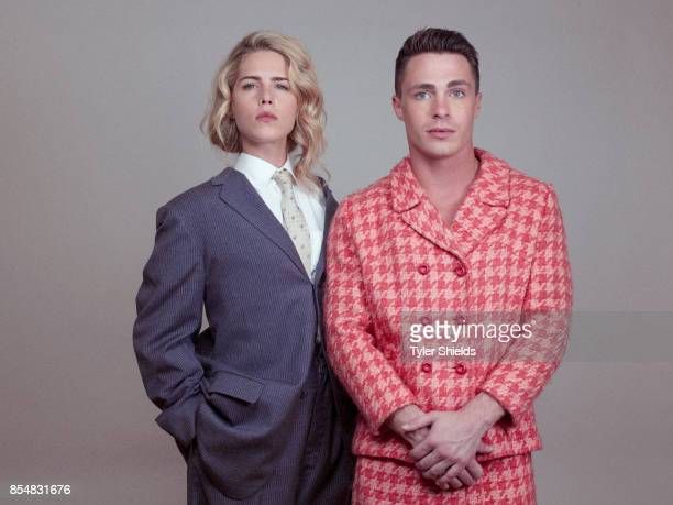 Actors Colton Hayes and Emily Bett Rickards for Self Assignment on January 9 2016 in Los Angeles California
