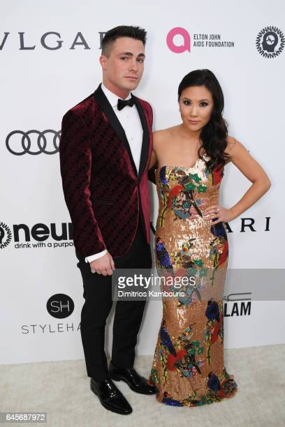Actors Colton Haynes and Ally Maki attend the 25th Annual Elton John AIDS Foundation's Academy Awards Viewing Party at The City of West Hollywood...