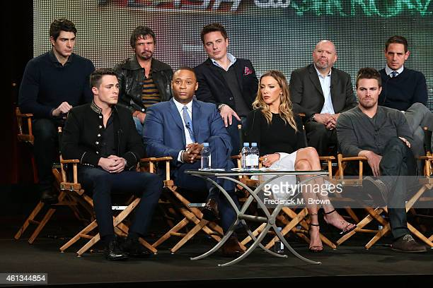 Actors Colton Haynes David Ramsey Katie Cassidy Stephen Amell actors Brandon Routh Matt Nable and John Barrowman executive producers Marc Guggenheim...