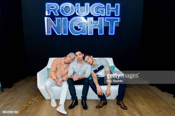 """Actors Colton Haynes, Paul W. Downs and Ryan Cooper attend the """"Rough Night"""" photo call at Crosby Street Hotel on June 10, 2017 in New York City."""