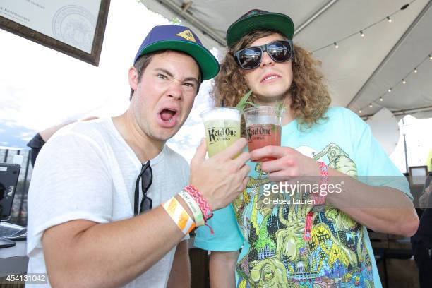 Actors / comedians Adam DeVine and Blake Anderson visit the De Nolet FYF lounge presented by Ketel One Vodka on August 24 2014 in Los Angeles...