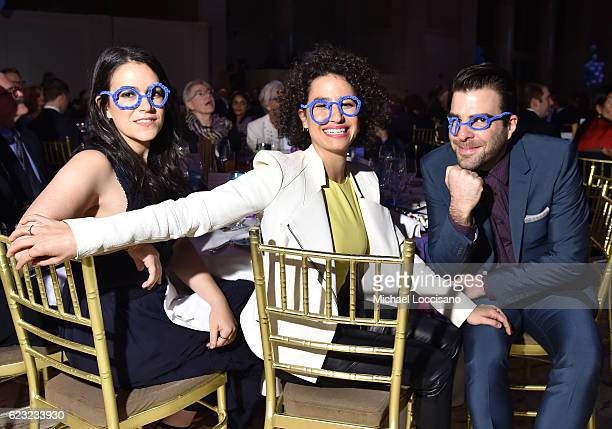 Actors comedians writers Abbi Jacobson and Ilana Glazer and actor Zachary Quinto attend Worldwide Orphans 12th Annual Gala at Cipriani Wall Street on...