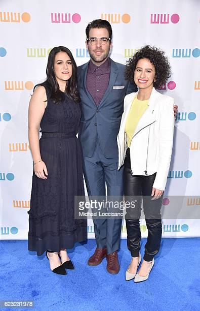 Actors comedians writers Abbi Jacobson and Ilana Glazer pose for a photo together with actor Zachary Quinto at Worldwide Orphans 12th Annual Gala at...