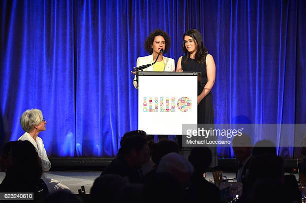 Actors comedians writers Abbi Jacobson and Ilana Glazer speak on stage as CEO and President Worldwide Orphans Foundation Dr Jane Aronson looks on...