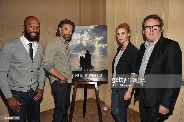 Actors Common Anson Mount Dominique McElligott and Colm Meaney attend AMC's Hell on Wheels TCA Panel during the 2011 Summer TCA Tour at the Beverly...