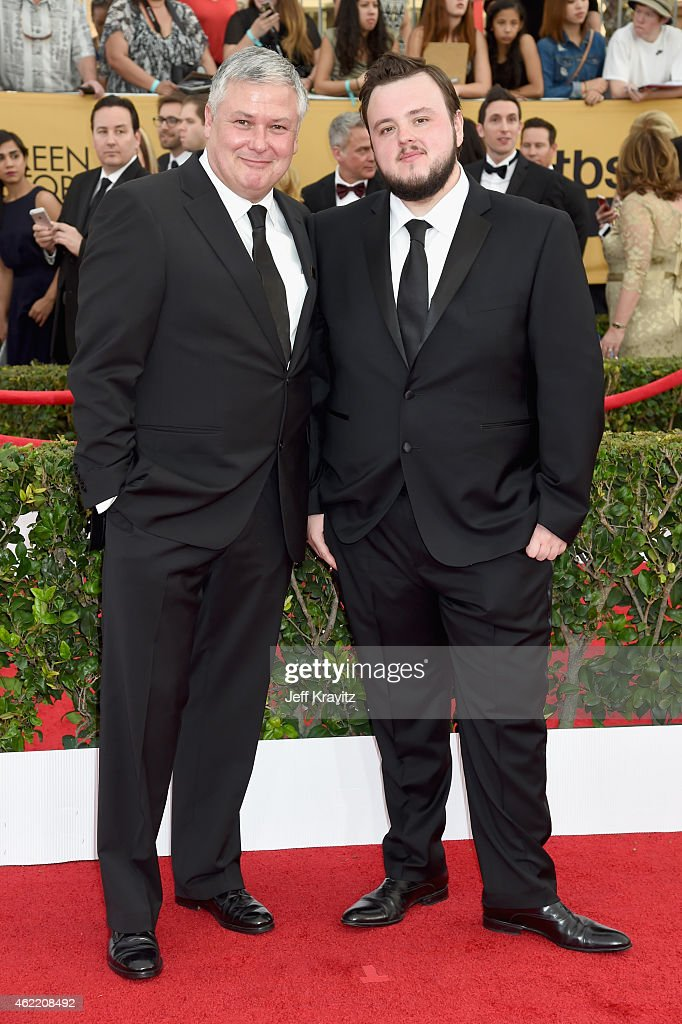 Actors Conleth Hill (L) and John Bradley attend the 21st Annual Screen Actors Guild Awards at The Shrine Auditorium on January 25, 2015 in Los Angeles, California.