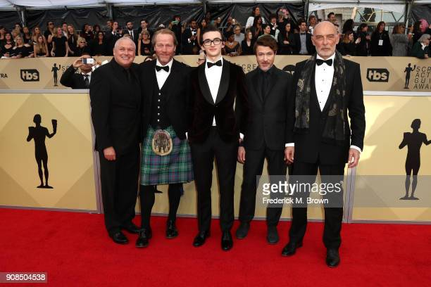 Actors Conleth Hill, Iain Glen, Isaac Hempstead Wright, Aidan Gillen and James Faulkner attend the 24th Annual Screen Actors Guild Awards at The...